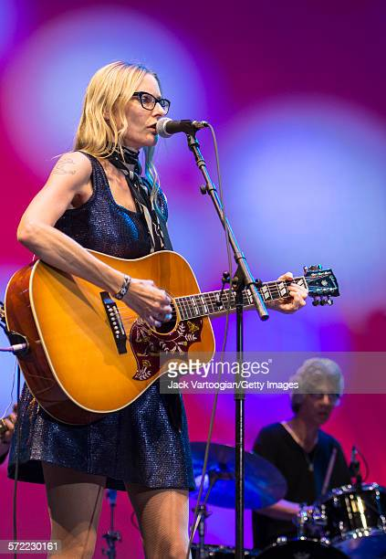 American singersongwriter Aimee Mann performs and the Watkins Family Hour Band during a performance in celebration of the 50th anniversary of Bob...