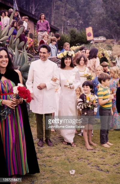American singer-songwriter and activist Mimi Farina and her father Albert Baez at her Wedding at Big Sur California , 7th September 1968.