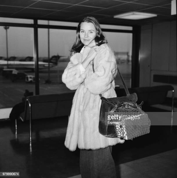 American singersongwriter and actress Michelle Phillips former member of The Mamas the Papas at Heathrow Airport London UK 22nd January 1974