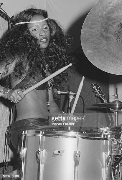 American singersongwriter and drummer Chaka Khan performing with American funk band Rufus at a record launch party in London February 1975