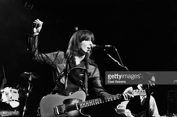 American singersongwriter and guitarist Chrissie Hynde performing with rock group The Pretenders USA 1994