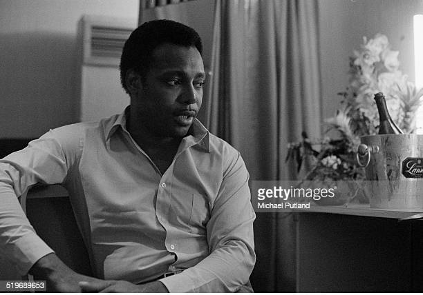 American singersongwriter and guitarist George Benson in his dressing room New York 1979