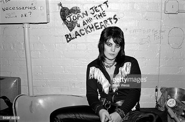 American singersongwriter and guitarist Joan Jett backstage in New York 1981