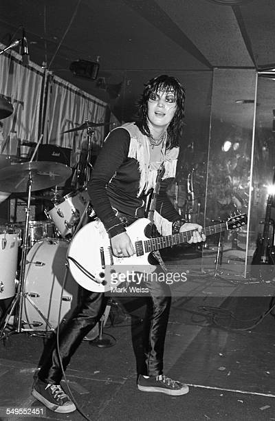 American singersongwriter and guitarist Joan Jett performs on stage in New York 1981