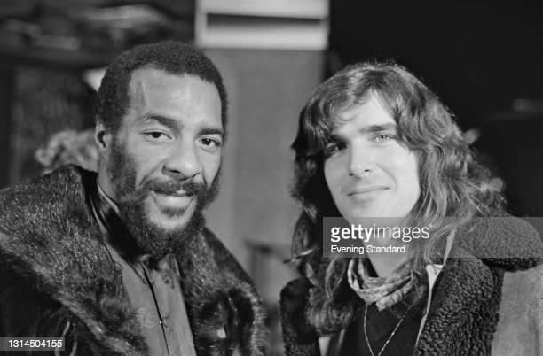 American singer-songwriter and guitarist Richie Havens and Australian singer Ronnie Charles recording the soundtrack for the rock musical 'Tommy', by...