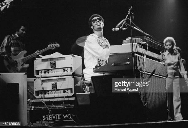 American singer-songwriter and keyboard player Stevie Wonder performing at the Rainbow Theatre, London, 28th Janaury 1974.