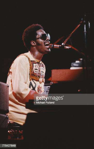 American singersongwriter and keyboard player Stevie Wonder performing at the Rainbow Theatre London 29th Janaury 1974