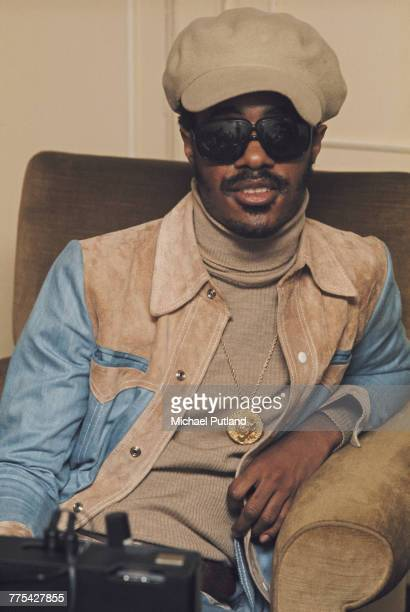 American singersongwriter and keyboard player Stevie Wonder posed in London on 29th January 1974
