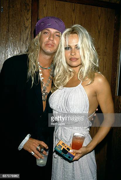 American singersongwriter and musician Bret Michaels and CanadianAmerican actress and model Pamela Anderson arrive for 'The Hoppening' to benefit...