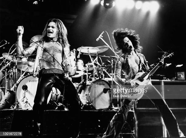 American singer-songwriter and musician David Lee Roth and Dutch-American musician, songwriter, producer, and inventor Eddie Van Halen performing...