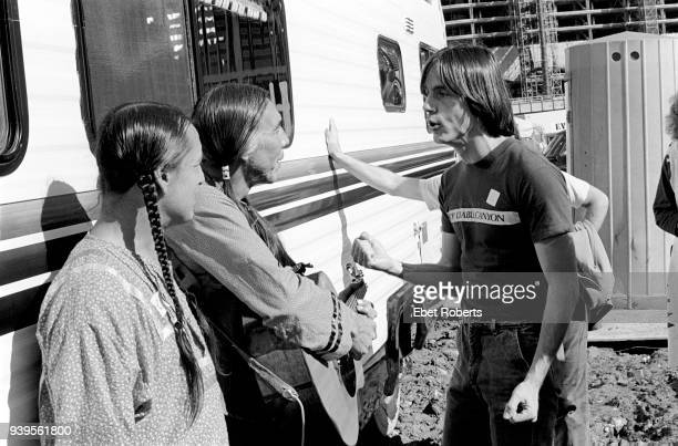 American singersongwriter and musician Jackson Browne at the No Nukes Muse Rally in Battery Park City in New York City on September 23 1979