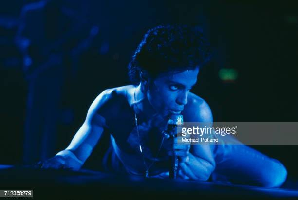 American singersongwriter and musician Prince performs on stage on the Hit N RunParade Tour at Wembley Arena London in August 1986