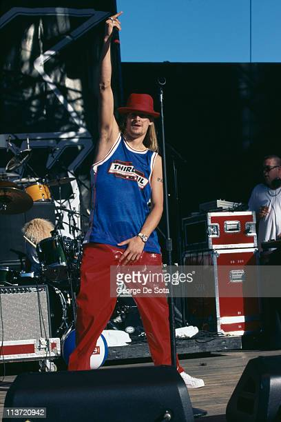 American singersongwriter and rapper Kid Rock performing on stage circa 1995