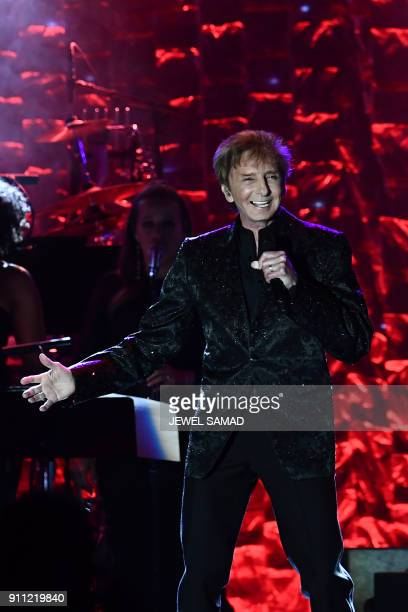 American singersongwriter arranger musician and producer with a career that has spanned more than 50 years Barry Manilow performs during the...
