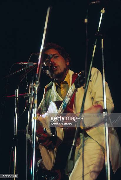 American singersongwriter Bob Dylan in concert at the Isle of Wight Pop Festival August 1969