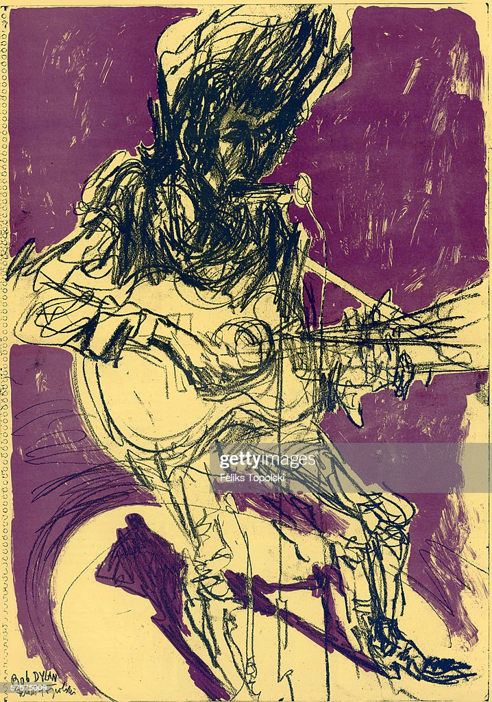American singer-songwriter Bob Dylan in rehearsal, 1965. A sketch by Polish-born British expressionist Feliks Topolski from Topolski's Chronicle Nos 1-6 Vol XIII, 1965.