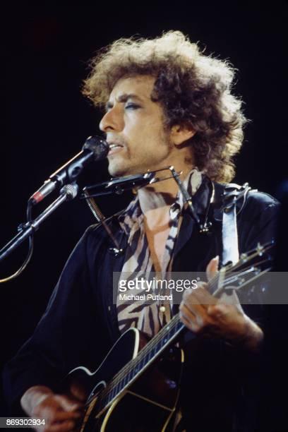 American singersongwriter Bob Dylan performs at Wembley Stadium during his European Tour 7th July 1984
