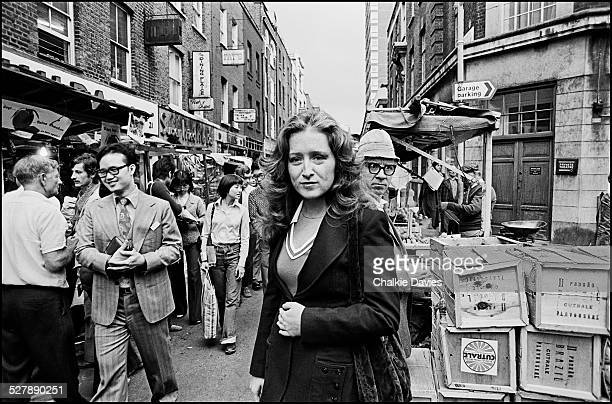 American singersongwriter Bonnie Raitt in Berwick Street Market London 1976