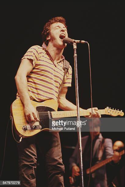 American singersongwriter Bruce Springsteen performing with the EStreet Band at Wembley Arena London 29th May 1981
