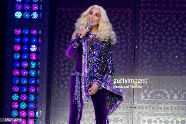 American singersongwriter Cher pseudonym of Cherilyn Sarkisian LaPierre in concert at the Zurich Hallenstadium with her Here We Go Again Tour Zurich...