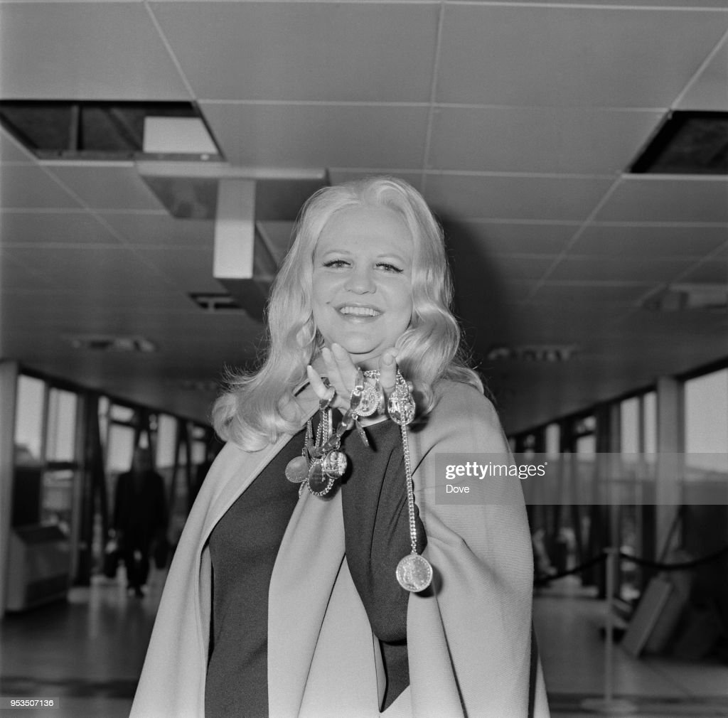 American singer-songwriter, composer and actress Peggy Lee (1920 - 2002) at Heathrow Airport, London, UK, 15th June 1970.