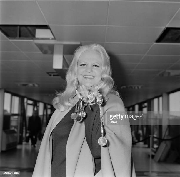 American singersongwriter composer and actress Peggy Lee at Heathrow Airport London UK 15th June 1970