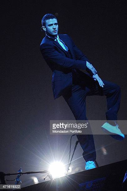 American singersongwriter dancer and actor Justin Timberlake performing at Milan Datch Forum in a date of the tour FutureSex/LoveShow Assago Italy...