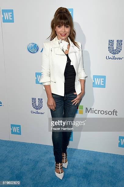 American singersongwriter dancer choreographer actress and television personality Paula Abdul walks the WE Carpet at WE Day California 2016 at The...