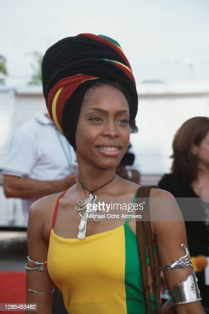 American singer-songwriter Erykah Badu, wearing a dress and matching headwrap in green, gold and red, attends the 4th Annual Soul Train Lady of Soul...