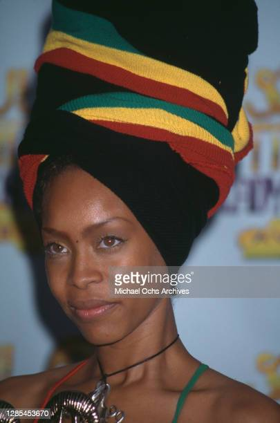 American singer-songwriter Erykah Badu, wearing a headwrap in green, gold and red, attends the 4th Annual Soul Train Lady of Soul Awards, held at the...