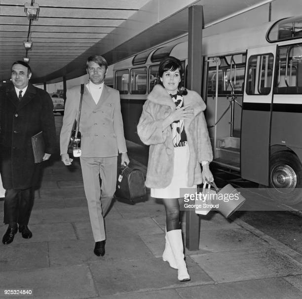 American singersongwriter Glen Campbell with his wife Billie Jean Nunley at Heathrow Airport UK 7th May 1968