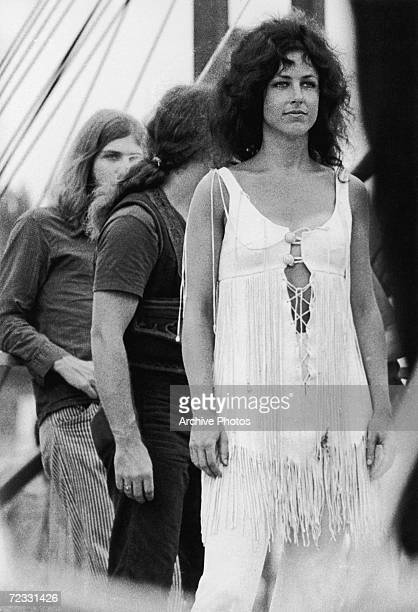 American singer/songwriter Grace Slick with psychedelic rock group Jefferson Airplane at the Woodstock Festival Bethel New York 17th August 1969