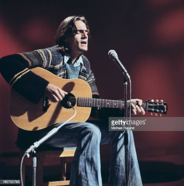 American singersongwriter James Taylor performs with acoustic guitar on a BBC TV show in London 20th October 1970