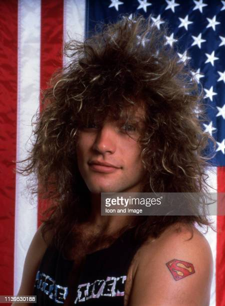 American singersongwriter Jon Bon Jovi who is the founder and frontman of the rock band Bon Jovi poses during a portrait session before their concert...