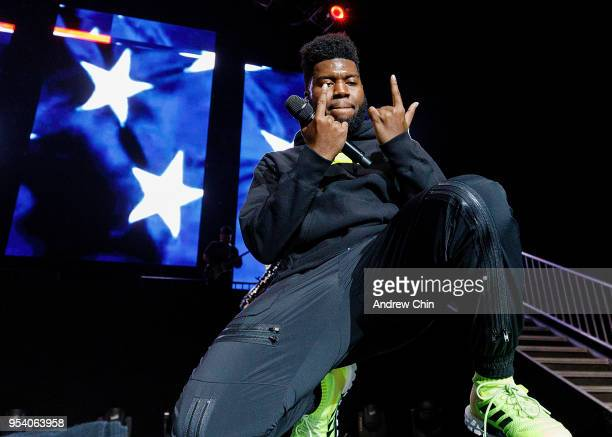 American singer-songwriter Khalid performs on stage at Pepsi Live at Rogers Arena on May 2, 2018 in Vancouver, Canada.