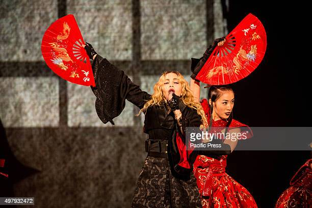 American singersongwriter Madonna performed live on stage at Pala Alpitour in Turin Italy for the first of the three Italian shows of the Rebel Heart...