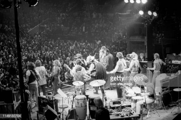American singer/songwriter multiinstrumentalist and author Bob Dylan performs with the entire band in Madison Square Garden during his Rolling...