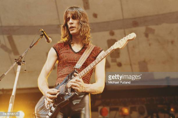 American singersongwriter musician and record producer Todd Rundgren performs live on stage playing a Fender Mustang guitar with Todd Rundgren's...