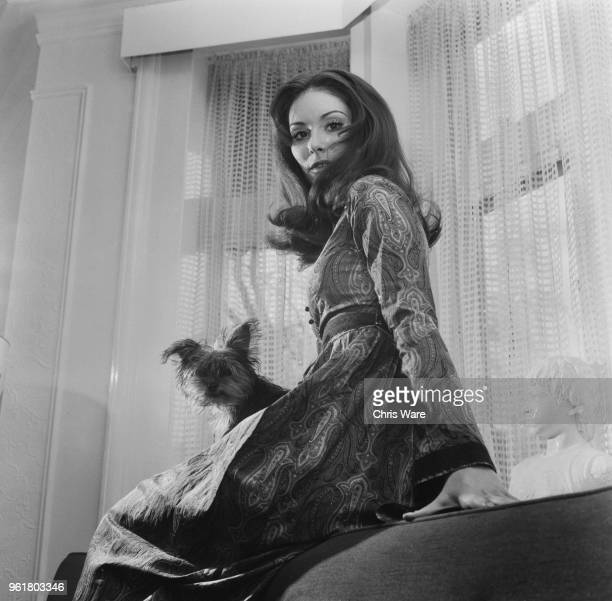 American singersongwriter Nanette Workman at her flat on the Marylebone Road London with her pet Yorkshire terrier Goliath February 1970