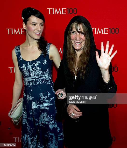 American singersongwriter Patti Smith and her daughter arrive at the Time Magazine World's 100 Most Influential People gala April 26 2011 in New York...