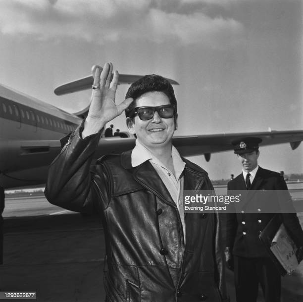 American singer-songwriter Roy Orbison at London Airport, UK, 1966.