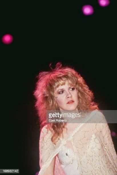 American singersongwriter Stevie Nicks of rock group Fleetwood Mac on stage circa 1983