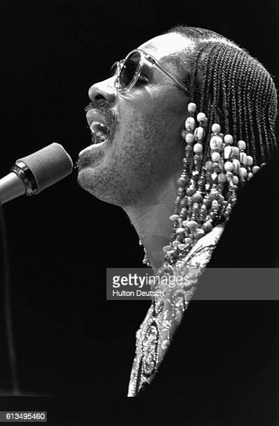 American singersongwriter Stevie Wonder in concert at Wembley London 1980