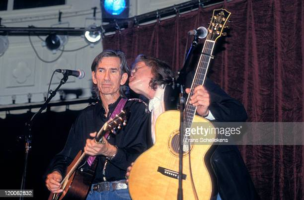 American Singer/songwriter Townes van Zandt on left performs with Guy Clark at Paradiso in Amsterdam, Netherlands on 9th January 1992.