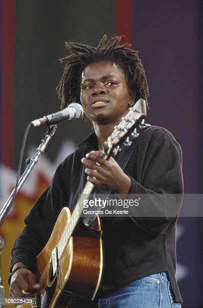 American singer-songwriter Tracy Chapman performing at a concert held to celebrate the release of African National Congress leader Nelson Mandela...