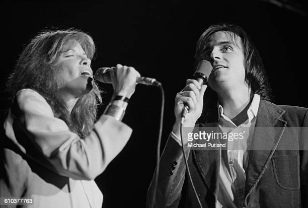 American singer-songwriters Carly Simon and her husband, James Taylor, performing at Villanova University near Philadelphia, Pennsylvania, USA, 16th...