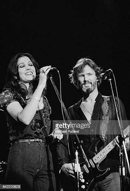 American singersongwriters Rita Coolidge and her husband Kris Kristofferson performing on stage USA January 1979