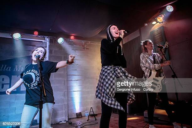 American singing group Cimorelli made up of six sisters Amy Danielle and Katherine perform on stage on November 27 2016 in Milan Italy