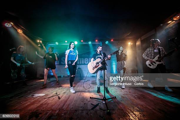 American singing group Cimorelli made up of six sisters Christina Lauren Lisa Amy Danielle and Katherine perform on stage on November 27 2016 in...
