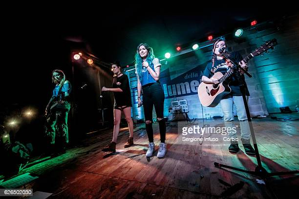 American singing group Cimorelli made up of six sisters Christina Lauren Lisa and Amy perform on stage on November 27 2016 in Milan Italy